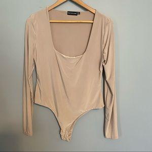 PRETTYLITTLETHING long sleeve nude bodysuit sz 12
